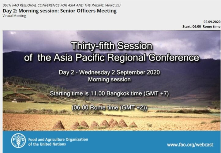 35th FAO Regional Conference for Asia and the Pacific (APRC 35) goes ONLINE